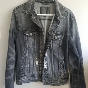 American eagle destroyed black denim jacket